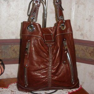 B. Makowsky Brown Leather Croc Embossed Bag